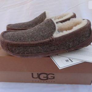 ce090163435 UGG ASCOT TWEED STOUT MEN'S MOCCASIN SLIPPERS 8 NWT